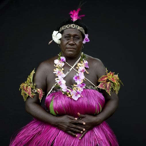Portrait of a woman in traditional clothing, Autonomous Region of Bougainville, Bougainville, Papua New Guinea
