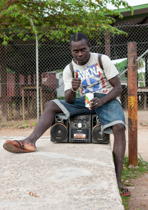 Young man with a ghettoblaster, Autonomous Region of Bougainville, Bougainville, Papua New Guinea