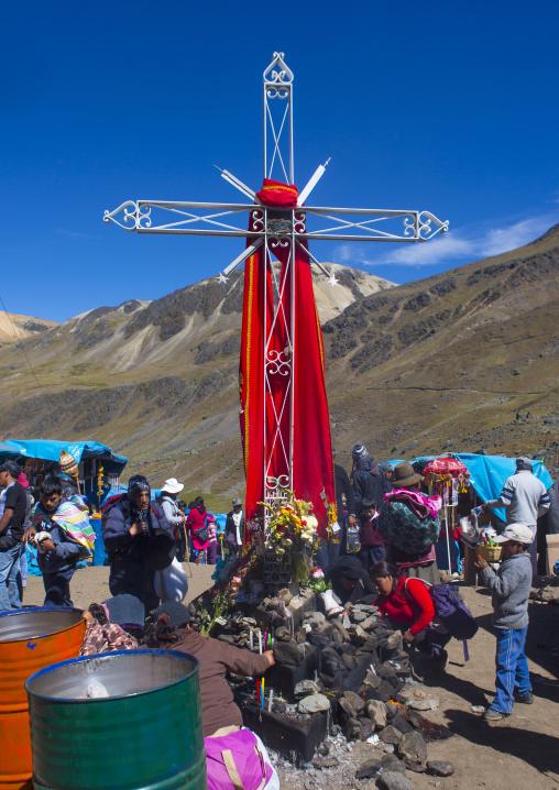 Cross On The Festival Site Of Qoyllur Riti, Ocongate Cuzco, Peru