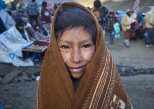 Peruvian Kid In The Cold Morning, Qoyllur Riti Festival, Ocongate Cuzco, Peru