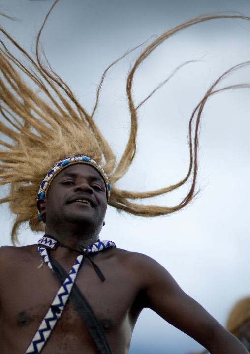 Traditional intore dancer during a folklore event in a village of former hunters, Lake Kivu, Ibwiwachu, Rwanda