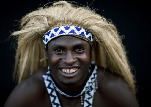Traditional intore dancer with a headwear, Lake Kivu, Ibwiwachu, Rwanda