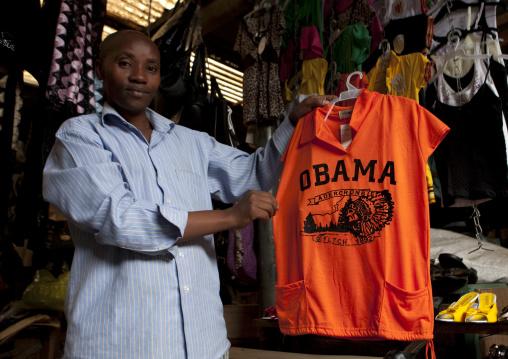 Tailor shop in the market selling an obama shirt, Lake Kivu, Gisenye, Rwanda