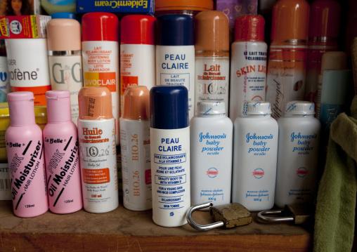 Skin whitening products for sale in the market, Lake Kivu, Gisenye, Rwanda