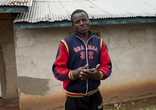 Rwandan man with an obama shirt, Lake Kivu, Gisenye, Rwanda