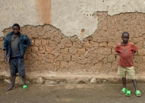 Rwanda boys playing with shoes in the street, Lake Kivu, Gisenye, Rwanda