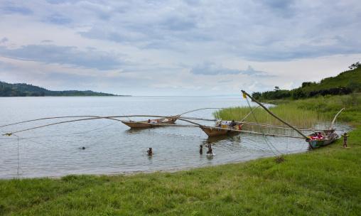 Traditional boats in brasserie area, Lake Kivu, Gisenye, Rwanda