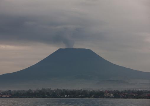 Smoke coming out of nyiragongo congo volcano, Lake Kivu, Gisenye, Rwanda