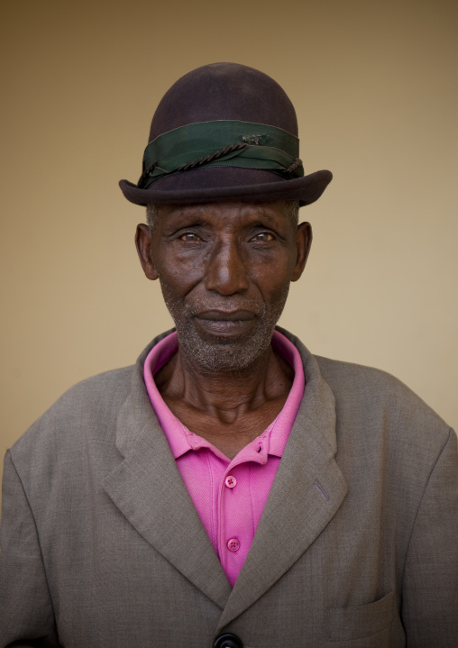 Rwandan old man in suit with a hat, Western Province, Karongi, Rwanda