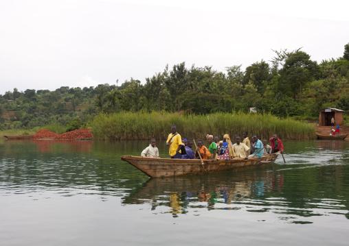 Rwandan people on a boat, Lake Kivu, Nkombo, Rwanda
