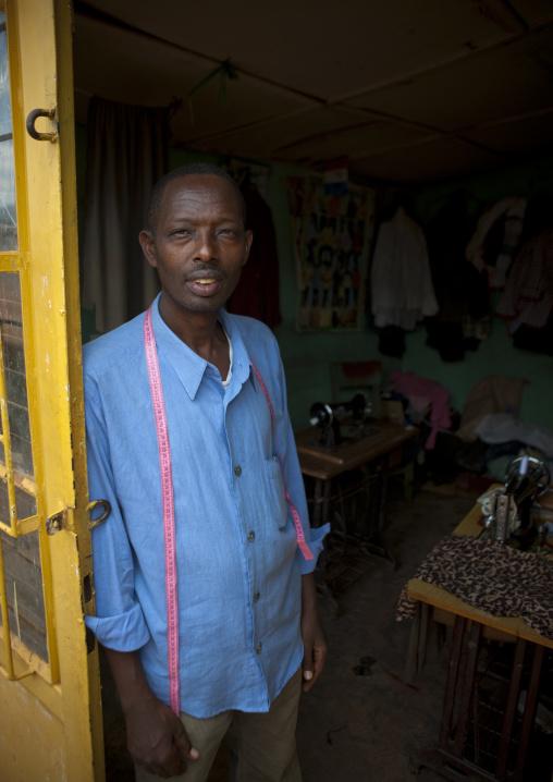 Rwandan tailor in his shop, Kigali Province, Kigali, Rwanda