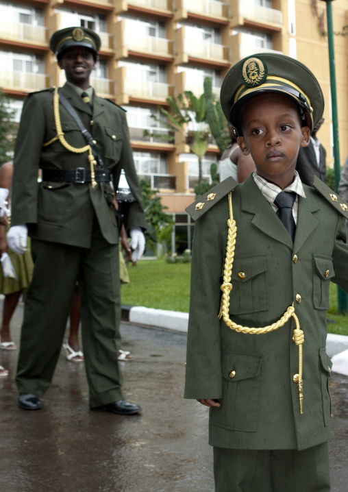 Kid dressed in a military uniform for a wedding, Kigali Province, Kigali, Rwanda