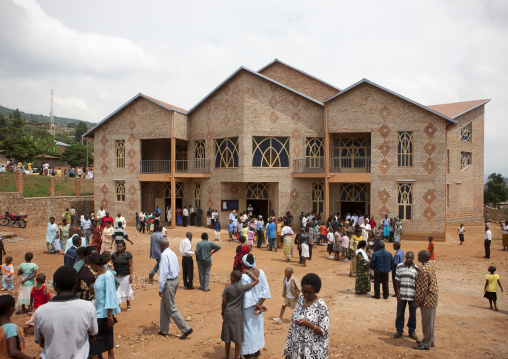 People going out of the church after the sunday mass, Kigali Province, Kigali, Rwanda