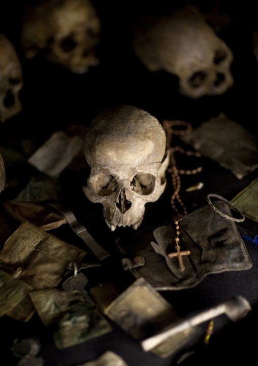 Human skulls in gisozi genocide memorial site, Kigali Province, Kigali, Rwanda