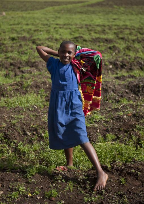 Rwandan girl in the volcanoes national park, Northwest Province, Rehengeri, Rwanda