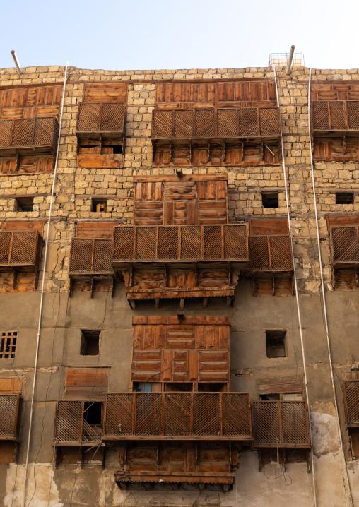 Historic house with wooden mashrabiyas in al-Balad quarter, Mecca province, Jeddah, Saudi Arabia