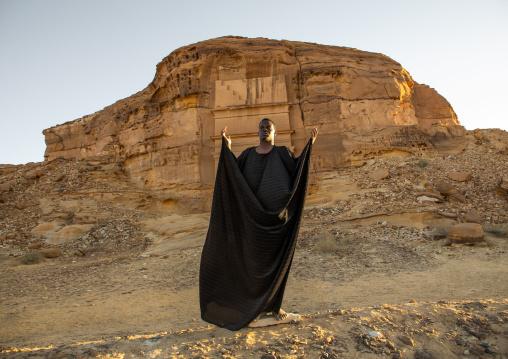 Saudi actor performing an historical play in an open air theater in Madain Saleh, Al Madinah Province, Alula, Saudi Arabia
