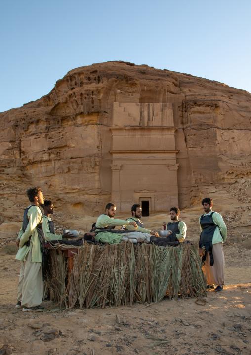 Saudi actors during an historical play in an open air theater in Madain Saleh, Al Madinah Province, Alula, Saudi Arabia