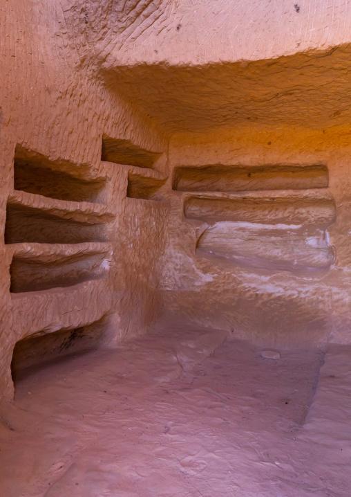 Holes for the coffins inside a tomb in al-Hijr archaeological site in Madain Saleh, Al Madinah Province, Alula, Saudi Arabia