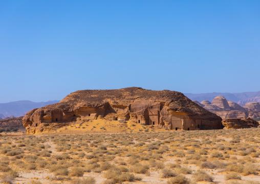 Nabataean tombs in al-Hijr archaeological site in Madain Saleh, Al Madinah Province, Alula, Saudi Arabia