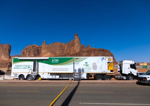 Mobile clinic in winter at Tantora festival, Al Madinah Province, Alula, Saudi Arabia