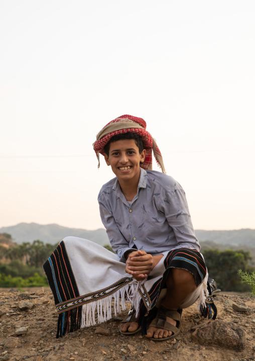 Portrait of a smiling saudi man, Jizan province, Alaydabi, Saudi Arabia
