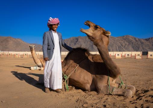 Saudi boy with his angry camel, Najran Province, Najran, Saudi Arabia