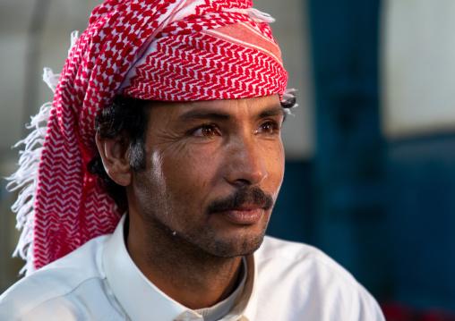 Portrait of a saudi man wearing a keffiyeh, Najran Province, Najran, Saudi Arabia