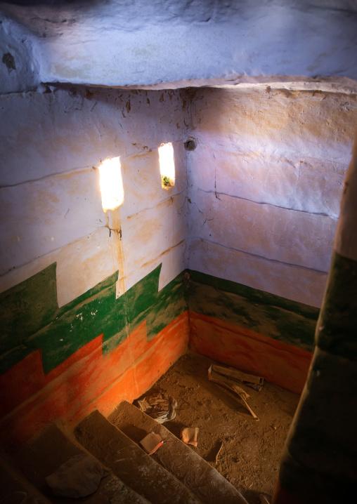 Colorful painted stairs in a traditional mud house, Asir province, Dahran Aljanub, Saudi Arabia