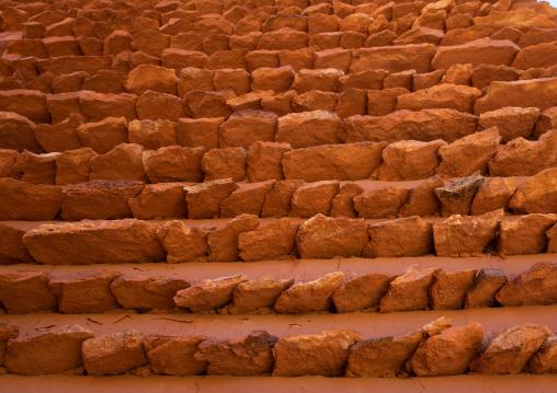 Red stone and mud houses with slates, Asir province, Sarat Abidah, Saudi Arabia