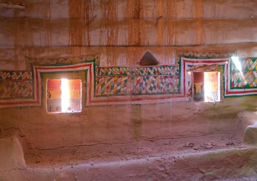 Al-qatt al-asiri female interior window decoration in an abandonned house, Asir province, Sarat Abidah, Saudi Arabia