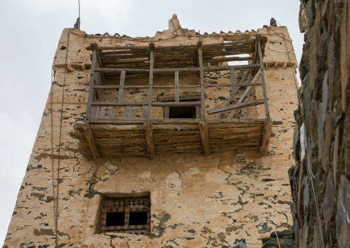 Wooden balcony on al-Namas fort, Al-Bahah region, Altawlah, Saudi Arabia