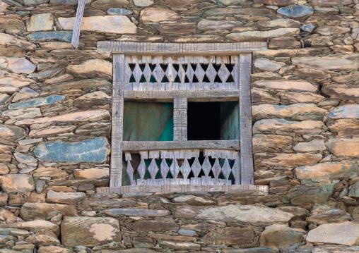 Wooden window in al-Namas fort, Al-Bahah region, Altawlah, Saudi Arabia