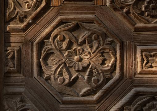 Kaki house carved decoration wood detail, Mecca province, Taïf, Saudi Arabia