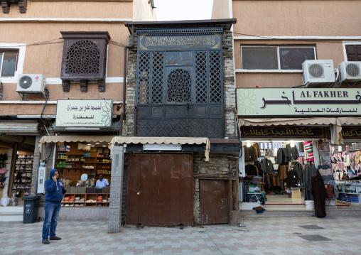 Wooden mashrabiya, Mecca province, Taïf, Saudi Arabia