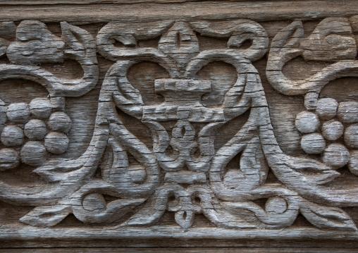 Bougari house carved decoration wood detail, Mecca province, Taïf, Saudi Arabia