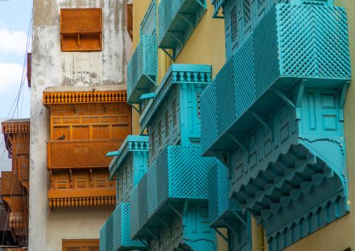 Old houses with wooden mashrabiyas in al-Balad quarter, Mecca province, Jeddah, Saudi Arabia