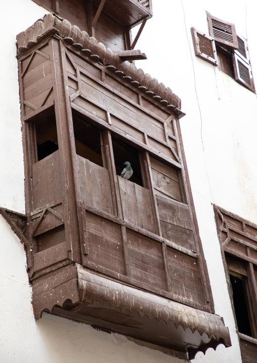 Wooden mashrabiya of an old house in al-Balad quarter, Mecca province, Jeddah, Saudi Arabia