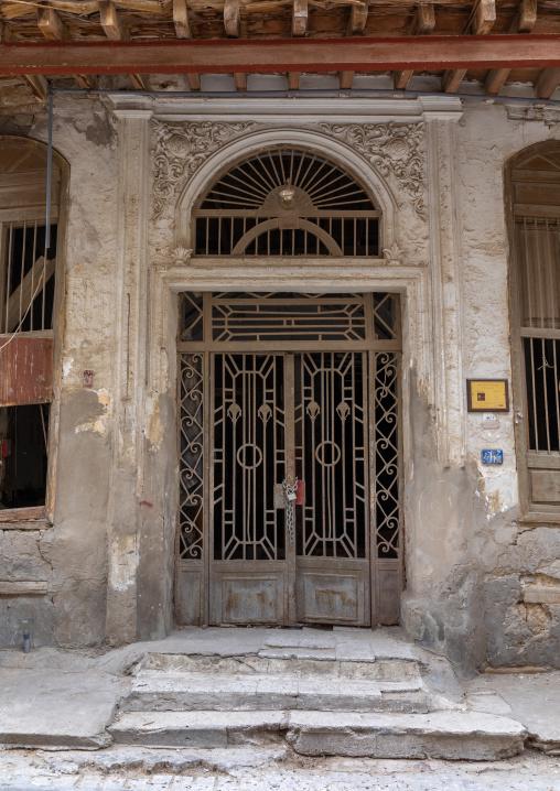 Metallic door of an historic house in the old quarter of al-Balad, Mecca province, Jeddah, Saudi Arabia