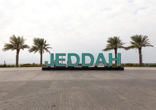 Jeddah giant letters on the seafront, Mecca province, Jeddah, Saudi Arabia