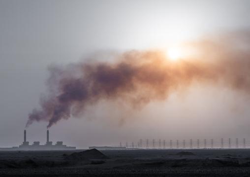 Smoke emitting from seawater desalination plant, Jizan Province, Jizan, Saudi Arabia