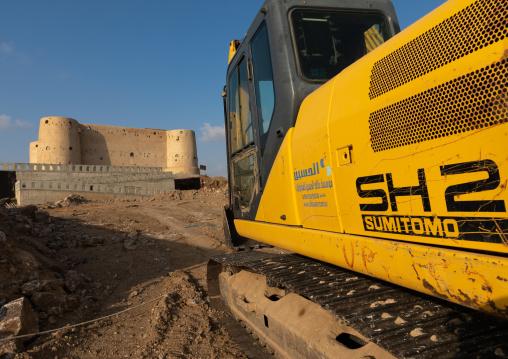 Caterpillar in front of the turkish fort, Jizan Province, Jizan, Saudi Arabia