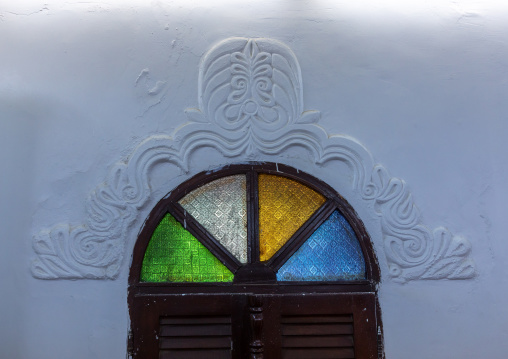 Al Nadji mosque stained window decoration, Red Sea, Farasan, Saudi Arabia