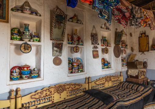 Decorated majlis in an old farasani house, Red Sea, Farasan, Saudi Arabia