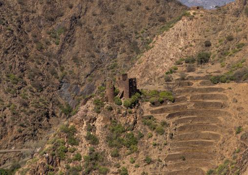Traditional stone watchtowers in the mountain, Jizan Province, Addayer, Saudi Arabia