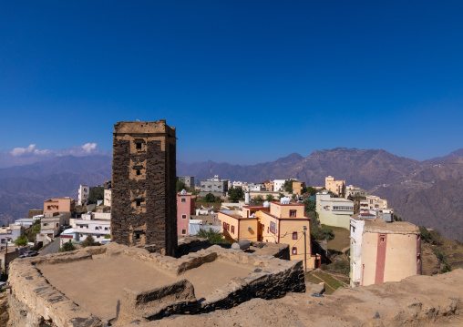 Stone watchtower in the middle of a village in the mountains, Jizan Province, Addayer, Saudi Arabia