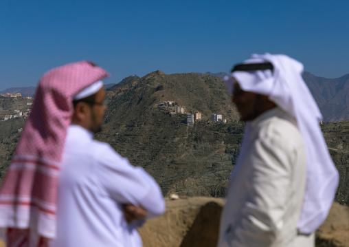 Saudi men in front of the mountain, Jizan Province, Addayer, Saudi Arabia