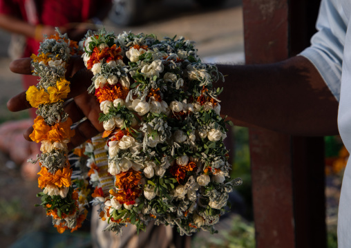 Floral garlands and crowns for sale on a market, Jizan Province, Mahalah, Saudi Arabia
