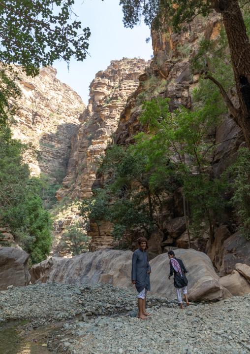 Saudi young men in wadi lajab, Jizan Province, Jebel Qahar, Saudi Arabia