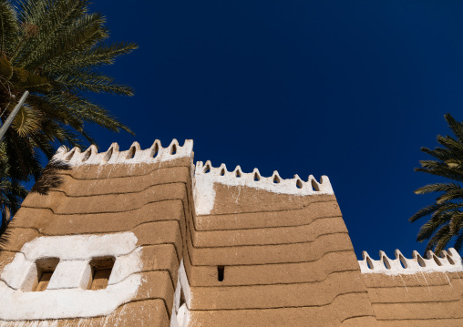 Traditional old mud house against blue sky, Najran Province, Najran, Saudi Arabia